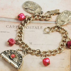 Vintage Handbag Charm Bracelet Goldtone